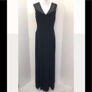 Calvin Klein 6 Black Mesh Ribbed Mesh Gown Dress